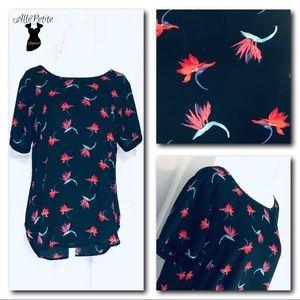 Tropical Floral Print Blouse Top Shirt
